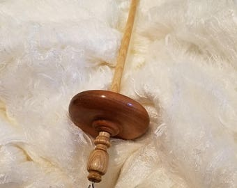 Hand turned drop spindle top whorl Mytlewood & Maple #6