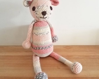 Teddy bear, Baby Gift, Baby Gift, Knitted Teddy Bear, Baby Girl Gift, Stuffed Animal, Stuffed Bear, Knitted Animals, Pink Teddy Bear