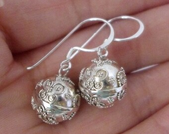 Butterfly sterling silver harmony ball earring. jingle bell chime musical angel caller guardian bell
