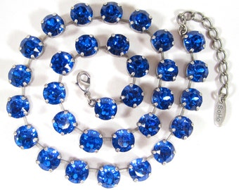SoHo® choker necklace with machine cut crystals vintage Swarovski crystals sapphire 1970s handmade in cologne