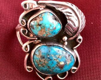 Vintage MORENCI High Grade Turquoise Sterling Silver Double Cab Ring with Beautiful Pyrite through out