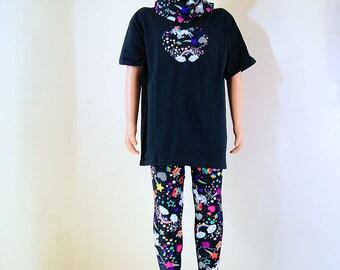 Black Neon Rainbow Unicorn Heart Applique T-Shirt Children Sizes - MTCoffinz