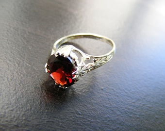 S35 Made to Order...Solid Sterling Silver or Solid Gold Antique Ornate Filigree Ring With 3 carat  Natural Garnet Gemstone