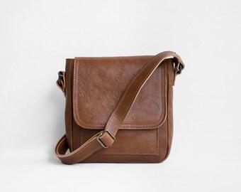 Mini Umhängetasche in Kastanie / Crossbody-Tasche braun Tasche / Umhängetasche Leder Tasche / Ledertasche / Leder Geldbörse