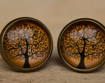 Orange Earrings, Tree Earrings, Glass Dome Earrings, Glass Dome Studs, Tree Studs, Stud Earrings, Post Earrings, Small Studs