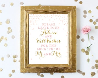 Bridal Shower Sign Please Leave Your Advice and Well Wishes for the Mr. and Mrs. Printable 8x10 . Wedding Advice Cards Sign Download