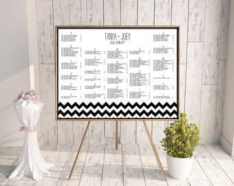 Wedding Seating Chart, Reception Seating Chart, Printable Seating Chart, Seating Chart PDF, Chevron, Modern, Find Your Seat, Black, Waverly