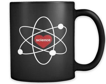 I love Science Mug, Science Black Mug, Science Gift, Science Gifts, Gift for Scientist, Scientist Gift, STEM Mug STEM Gift Physics Mug #a094