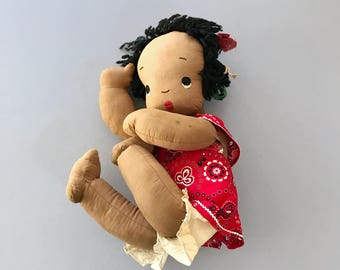 Charming Vintage Handmade Folk Art Black Americana Fabric Doll