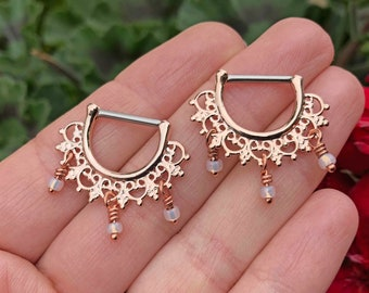 Bali Boho Fan Rose Gold Nipple Ring Nipple Piercing