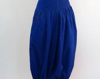 Capri pants Indian AMPLE plain, royal blue lightweight cotton