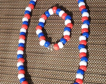Kids bracelet and necklace set. 4th of July. Red, white and blue.