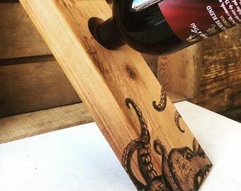 Self-balancing Wine Holder | handmade, woodburned, gift, wine bottle stand, octopus