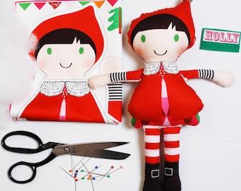 Christmas Elf Mini Doll personalised craft kit