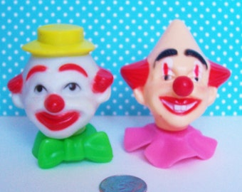 """2 Vintage Wilton  Clown Head Cake Toppers 1978, 2 1/4- 2 1/2"""" tall"""
