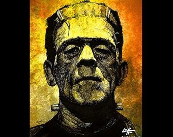 """Imprimer 8 x 10""""- Frankenstein - classique de monstres sombres Art Halloween créature Pop Art gothique Dracula Ink Vintage Zombie science-fiction"""