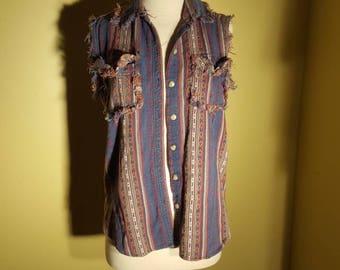 Vintage woven textile shirt vest
