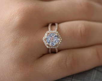 Hexagon Engagement Ring. White to Ice Blue Sapphire Ring. 14k Rose Gold 1.82ct Round sapphire engagement ring by Eidelprecious