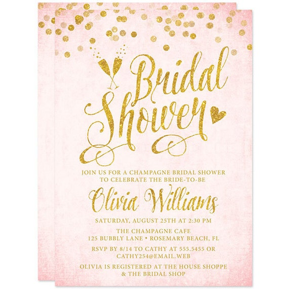 Blush Pink Gold Bridal Shower Invitations Printed Bridal