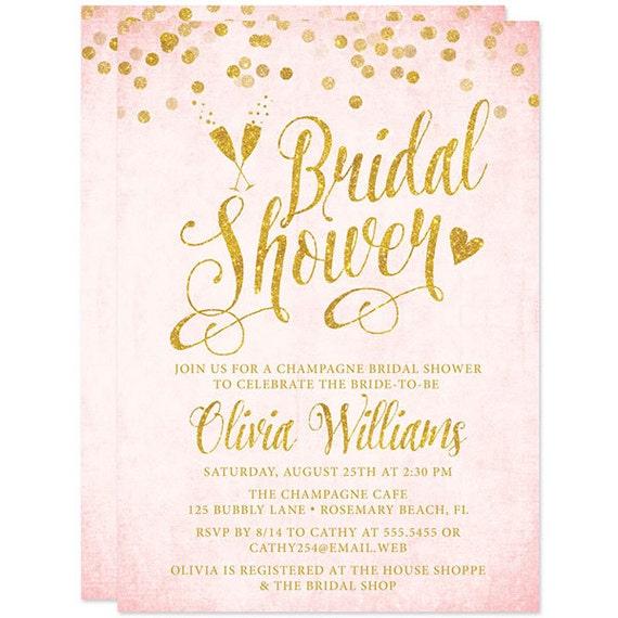 Blush pink gold bridal shower invitations printable bridal like this item filmwisefo Gallery