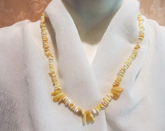 100% Natural Baltic Amber Necklace  14.2 gr. beaded polished white royal yellow egg yolk butterscotch opaque adult teens healing medical