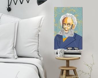 """Portrait """"Henrik"""" Tribute to Henrik Ibsen - FRAMED ART, Literature, iconArt, Personalized Gift, Name, Book Lover, Gift, For Women, For Men"""