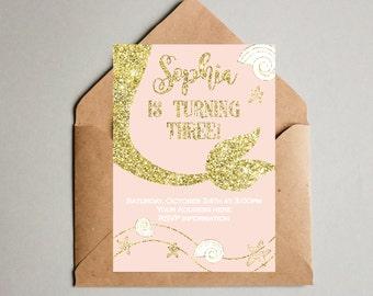 Mermaid Birthday Invitation - Mermaid Invitation - Under The Sea Party Invite - Little Mermaid - Birthday Invitation - Pool Party pink gold