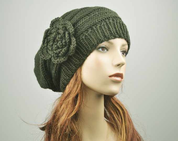 Hand Knit Hat Oversized  Beret Hat with crochet flower in Olive green - ready to ship