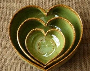 3 Miniature Nesting Heart Dishes