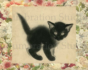 April's Kittens, Clare Turlay Newberry, Table Top Archival Petite Print, Ready for Framing