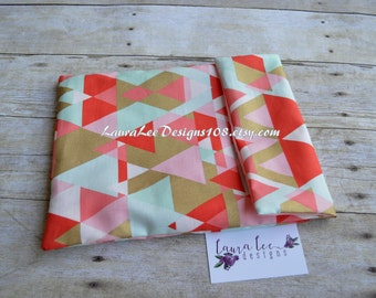 READY TO SHIP Retro Triangles in Pink Coral, Mint, and Metallic Gold Diaper Pouch, Ouch Pouch, Nappy Bag, Diaper Organizer