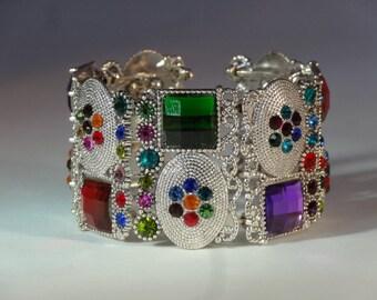 Vintage Sterling Silver Multi Colour Gemstone Design Celtic Gem Bangle Cuff Bracelet Adjustable Amulet