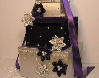 Wedding  Card Box Purple and Silver Gift Card Box  Money Box Holder-Customize your color