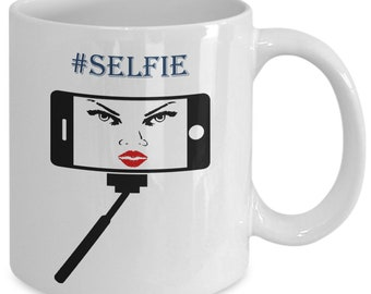 Selfie stick coffee mugs