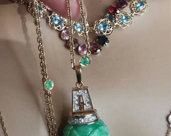 14k Gold Diamond Jade Ball Tassel Pendant Extreamly Rare Unique One Of A Kind 32 Grams 2.75 Inches
