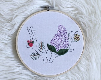 Hand Embroidered Antler Hoop