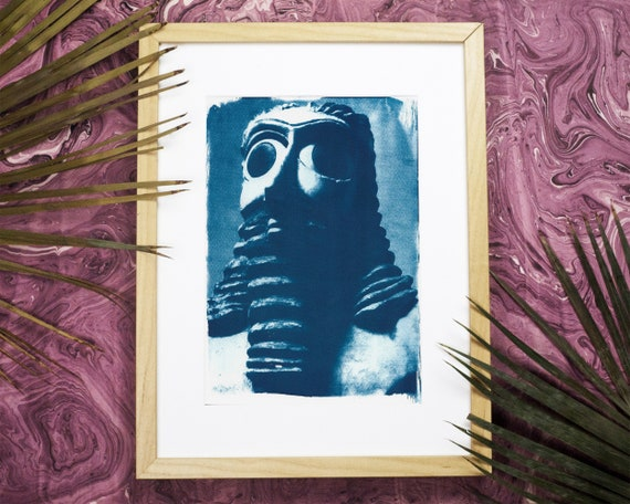 Sumerian Hollistic Sculpture, Cyanotype Print, Watercolor Print, Mesopotamian Art, Iraqi Art, Art History, Boho Print, Middle Eastern Art