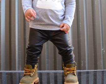 Faux Leather Leggings - Baby Pants - Toddler Pants - Baby Leggings - Toddler Leggings - Baby Clothing - Kids Leggings -  Baby Joggers