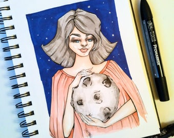 Mother of the Moon - Original Halloween illustration for any fantasy art lover.