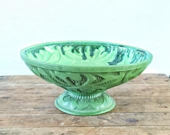Fruit Bowl Mid Century California Art Pottery Pedestal Bowl Vintage 1950s Green Glaze USA Made Decor Etched Relief Centerpiece Serving Bowl