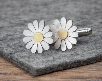 Daisy cufflinks, Silver daisy cufflinks, Silver floral cufflinks, Gold Daisy cufflinks, Mens jewellery, Floral cufflinks
