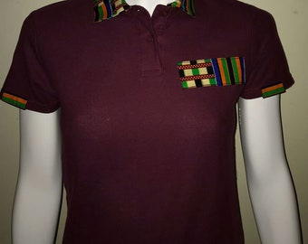 Women Dashiki Polo Wine red with collar and stripe (green and wine red) Black Panther Wakanda Motherdays