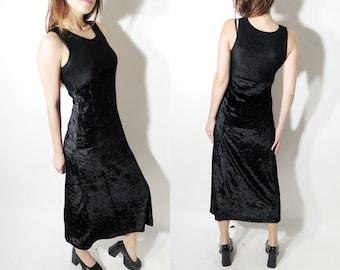 Black Velvet Dress / Long Velvet Dress / Vintage Black Dress / Sleeveless Dress / Stretchy Dress / Evening Dress / Black Dress / 90s Dress