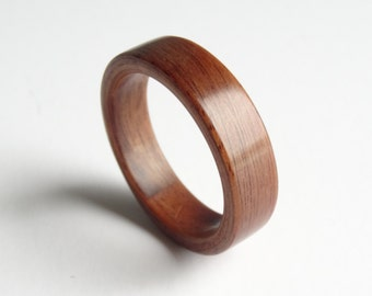 Bent Wood Ring Handmade with Santos Rose Wood.  Wooden Rings For Men and Women in Any UK or US Size