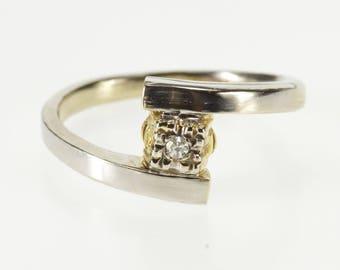 14K Diamond Inset Two Tone Squared Band Freeform Ring Size 8 White Gold