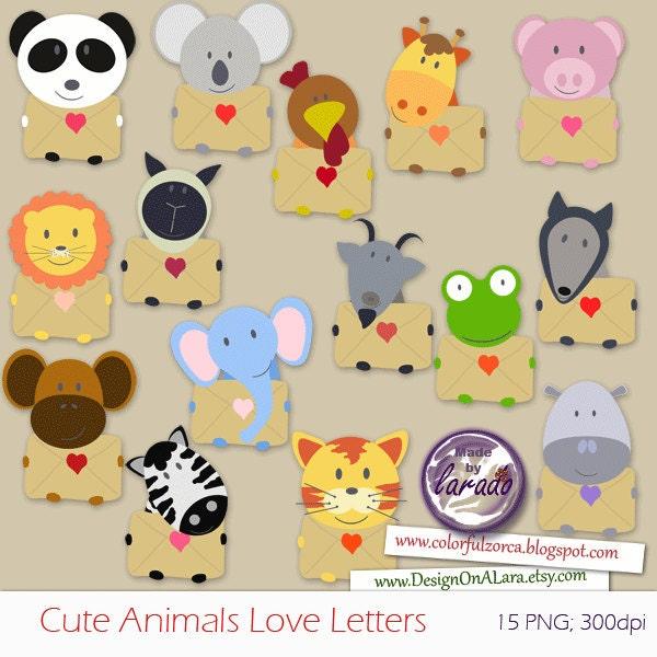 Cute Animals Love Letters Clip art Valentine Clipart