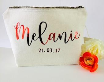 Personalised makeup bag, wedding gift bridal gift bridesmaid gift cosmetic bag