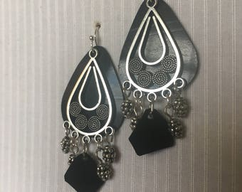 Layered chandelier recovered vinyl earrings