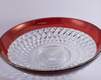 Cranberry Flash Cut Glass Bowl