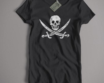 Pirate T shirt - Jolly Roger Skull & Crossbones S-5XL, Kids and Lady Fit Sizes Available Old Skool Hooligans